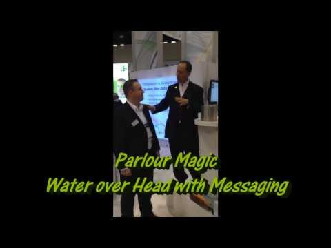 Water over head with messaging